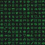 Matriz verde de Digitaces y fondo inconsútil del vector de los símbolos del código de ordenador libre illustration