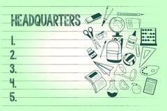 Matrizes da escrita do texto da escrita Conceito que significa os locais de escritórios principais ocupados por um comanalysisder ilustração royalty free