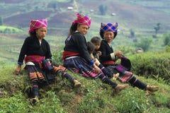 Matrizes e crianças de Hmong da flor Fotografia de Stock