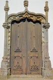 Matrizkerk Nossa Senhora das Dores: details van een Manueline-deuropening binnen de oude stad van Monchique, Algarve royalty-vrije stock foto