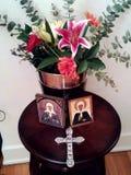 Matrona Shrine 2. Flower shrine with Russian icons Stock Photos