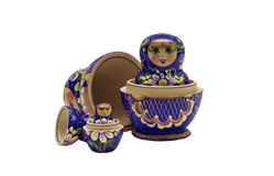 Matroshka. Four typical russian matroshkas, blue coloured. The focus is based on the second one, the smallest one is out of focus Royalty Free Stock Photography
