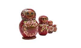 Matroshka. Four typical russian matroshkas, red coloured royalty free stock photo