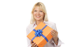Matrue woman with gift box Stock Photography
