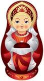 Matryoshka玩偶用面包和盐 库存图片