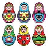 Matryoshka, ícones coloridos da boneca do russo ajustados Imagens de Stock