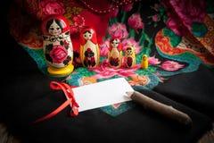Matryoshka и головной платок Стоковое Изображение