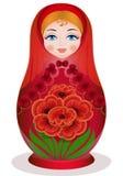 Matryoshka с букетом Стоковая Фотография