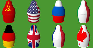 Matryoshka. With different flags on it Stock Photography