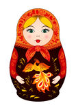 Matryoshka in autumn style with firebird. Russian traditional wooden doll, vector pattern Royalty Free Stock Photography