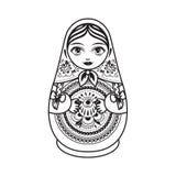 Matryoshka Babushka docka stock illustrationer