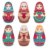 Matryoshka. Babushka doll. Set Stock Images