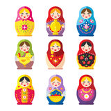 Matryoshka or babushka dolls vector set  in a flat style. A set of Russian matryoshka dolls in a flat style. The traditional symbol of Russia. Icons Russian Stock Images
