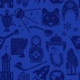 Matryoshka, balalaika, bear and other national symbols of Russia vector illustration