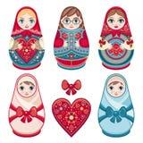 Matryoshka Bambola piega russa di incastramento Immagini Stock
