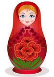 Matryoshka with a bouquet Stock Photography