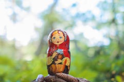 Matryoshka in the brite forest. Beautiful handmade doll in the forest royalty free stock photos