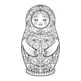 Matryoshka coloring book for adults vector. Illustration. Anti-stress coloring for adult. Zentangle style. Black and white lines. Lace pattern Stock Images