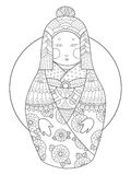 Matryoshka coloring book vector illustration Royalty Free Stock Photography