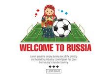 Matryoshka con el balón de fútbol stock de ilustración