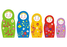 Matryoshka doll. Matreshka russian toy with floral patterns vector illustration