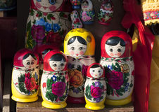 Matryoshka doll. S or russian nested doll in a tourist market in Saint Petersburg, Russia Stock Photography
