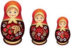 Matryoshka doll family Khokhloma style. Matryoshka doll family dressed in Khokhloma style, Russian wood painting handicraft, Russian nested doll, Babushka doll Royalty Free Stock Photo