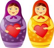 Matryoshka doll holding a heart. Matryoshka is traditional russian souvenir, symbol of motherhood and family vector illustration