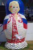 Matryoshka doll with Russian athletes signatures Royalty Free Stock Image