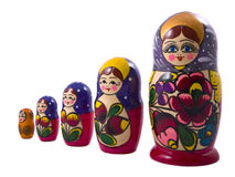 Matryoshka dolls. Five matryoshka dolls isolated on a white background Royalty Free Stock Image