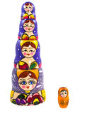 Matryoshka dolls. Five matryoshka dolls isolated on a white background Royalty Free Stock Photos