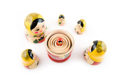 Matryoshka dolls. On the white background Royalty Free Stock Photos