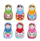 Matryoshka Dolls. Beautiful and colorful set of 6 Matryoshka Russian nesting dolls Stock Photos