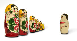 Matryoshka dolls angry with one of them Stock Photos