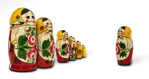Matryoshka dolls angry with one of them Royalty Free Stock Image