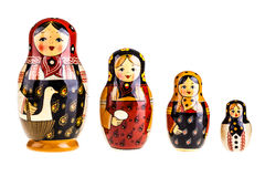 Matryoshka dolls family. Matryoshka doll set isolated on a white background Royalty Free Stock Photo
