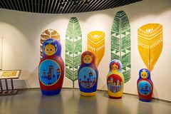 The matryoshka dolls in museum of NZH Manzhouli in Inner Mongolia, China. The photo was taken in Matryoshka doll square of NZH Manzhouli in Inner Mongolia stock image