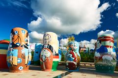The matryoshka dolls in NZH Manzhouli in Inner Mongolia, China. The photo was taken in Matryoshka doll square of NZH Manzhouli in Inner Mongolia, China royalty free stock photography