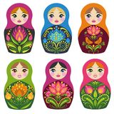 Matryoshka dolls. Russian souvenirs. Vector collection. Six silhouettes of brightly painted pretty toys on white background Stock Images