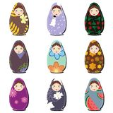 Matryoshka dolls scrapbook on white Stock Image