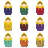 Matryoshka dolls scrapbook on white Stock Images