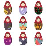 Matryoshka dolls scrapbook on white Royalty Free Stock Image