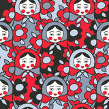 Matryoshka dolls - seamless pattern of Russian  ne Royalty Free Stock Photos