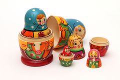 Matryoshka dolls  on white background Royalty Free Stock Photo