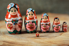 Matryoshka family. Russian doll on a wooden table. Stock Image