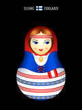 Matryoshka finnish girl. Matryoshkas of the World: finnish girl in kansallispuku dress Stock Images