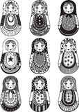 Matryoshka. Funny matryoshka with patterns painted by hand. For your design, isolated objects, black Royalty Free Stock Photos