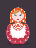 Matryoshka gniazdować Rosyjskiej lali ikony pojedyncza ilustracja - mieszkanie wektoru stylowa karta na ciemnym tle Zdjęcie Royalty Free