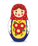 Matryoshka with grimace. Vector colorful illustration of a russian nesting doll Matryoshka making funny face, showing her tongue. Bright colors, traditional Royalty Free Stock Image