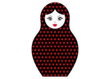 Matryoshka icon Russian nesting doll with ornament polka dot, vector isolated Royalty Free Stock Photo